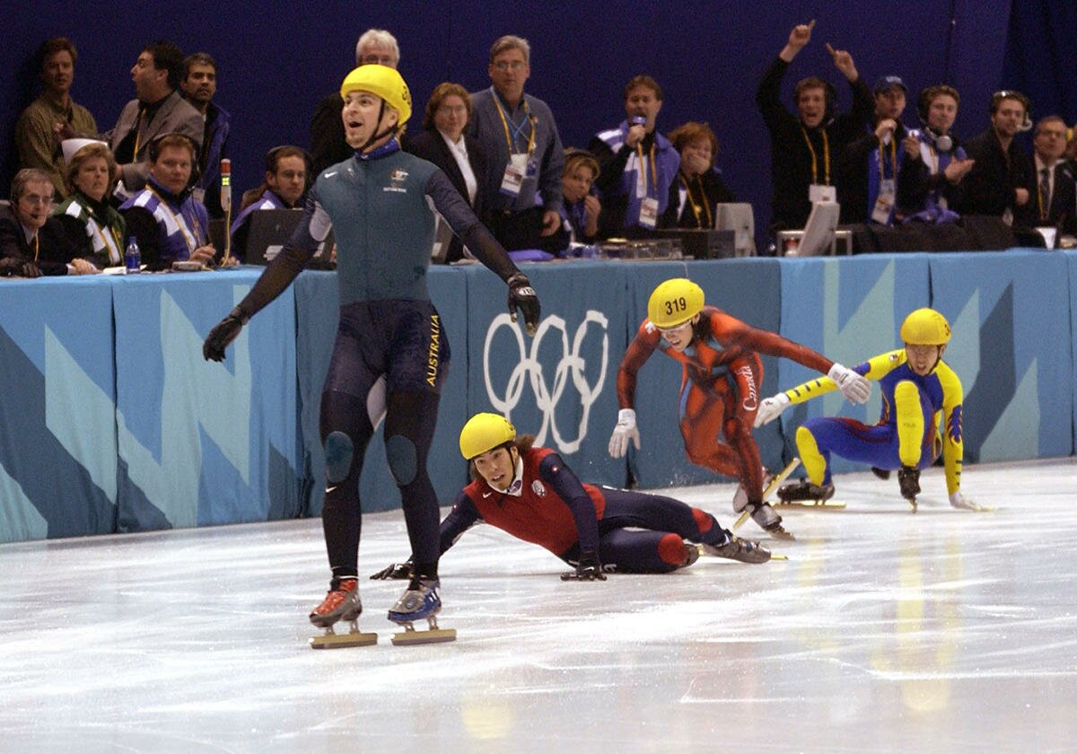 Steven winning the 2002 Winter Olympics Men's 1000m final