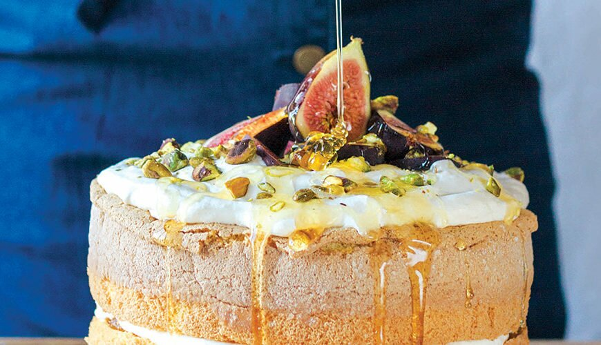 Fig, Mascarpone and Honey Sponge Cake