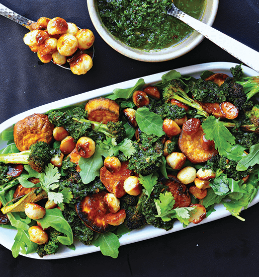 Honey toasted macadamia nuts and crispy broccoli salad